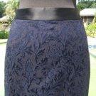 Cache $108 TEXTURED BROCADE NAVY BLACK Skirt NWT 6/8/10 M SELF-BELT Lined