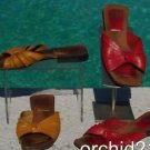 Cole Haan $$$ LOT 2 LEATHER Sandal Flat Shoe VGC 7.5 Yellow & Red Leather Sandal