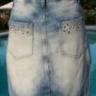 Cache $98 Denim RHINESTONE METAL STUD Skirt  NWT M/L/XL SLIGHT DISTRESS STRETCH