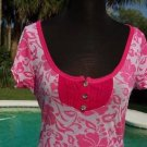 Cache $$$ STRETCH HAWAIIAN HENLEY TEE'Z TEE Top NWT S/M/L RUCHED YUMMY SOFT
