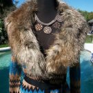 Cache $198 METALLIC STRETCH CARDIGAN Top NWT REMOVABLE FAUX FUR COLLAR S/M