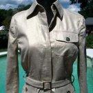 Cache $168 METALLIC LINEN BLEND Jacket + BELT NWT XS/S LIGHT GOLD STRETCH