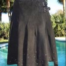 Donald Pliner $875 SUEDE LEATHER Grommet Nail Head WRAP Skirt Self-Belt M NWT