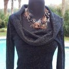 Cache $98 BLACK METALLIC OVERSIZE COLLAR Top NWT SUPER SOFT STRETCH XS/S/M/L