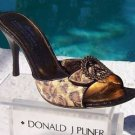 Donald Pliner $325 COUTURE FRENCH LEOPARD TAPESTRY LEATHER SLIDE Shoe NIB 10.5