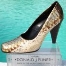 Donald Pliner $595 COUTURE HAND PAINTED METALLIC PYTHON Leather Pump Shoe NIB