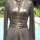 Cache LUXE $158 METALLIC ELABORATE RUCHED Top NWT TUNIC EVENT SCARF WRAP STRETCH