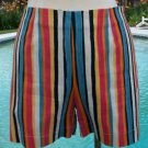 Cache $78 STRETCH STRIPE Short Pant NWT XS 0/2/4  Cotton Lycra  SIDE ZIPPER