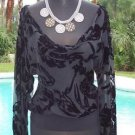 Cache $138 VELVET SHEER ILLUSION BURN-OUT EVENT Top NWT XS/S Drape NECK