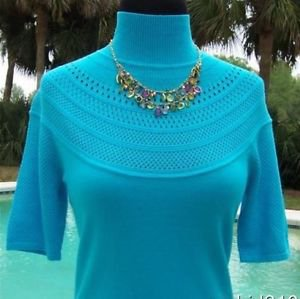 Cache $88 MOC NECK PEEK-A-BOO POINTELLE KNIT STRETCH Top NWT XS/S/M/L OCEAN BLUE