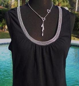 Cache $$$ STRETCH  CHAIN EMBELLISHED Cami TEE Top NWT XS/S WEAR ALL YEAR