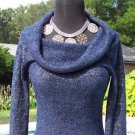 Cache $98 NAVY METALLIC OVERSIZE COLLAR Top NWT SUPER SOFT STRETCH XS/S/M/L