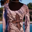 Cache STRETCH LEOPARD CROSS $$$ TEE Top NWT XS/S Chains Burn-Out YUMMY SOFT