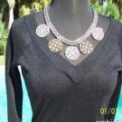 Cache $98 LUXE METALLIC DOUBLE PLUNGING V NECK  Top NWT XS/S/M STRETCH
