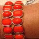 "Cache $44 BRACELET NWT STRETCH ADJUSTABLE CUFF ORANGE CORAL 1 1/4"" WIDE EVENT"