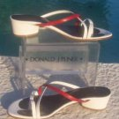 Donald Pliner $200 COUTURE WHITE RED LEATHER Shoe Sandal NIB COMFORT TOE-RING