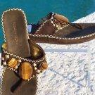 BCBG MAXAZRIA  TIGER-EYE STONES  SUEDE Shoe $225 NIB 5.5 6 FLAT SANDAL THONG