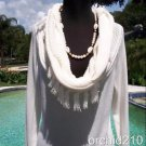 Cache  $118  PEEK-A-BOO KNIT Top NWT L/XL  OVER SIZE COLLAR TUNIC STRETCH