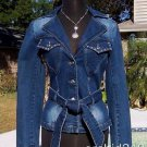 Cache $158 DEMIN~ + BELT RHINESTONE Top JACKET NWT 0/2 XS WEAR ALL YEAR STRETCH