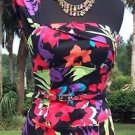 Cache $188 ONE-SHOULDER Floral +BELT DRESS NWT 0/2/4 XS BUILT IN BRA TROPICAL