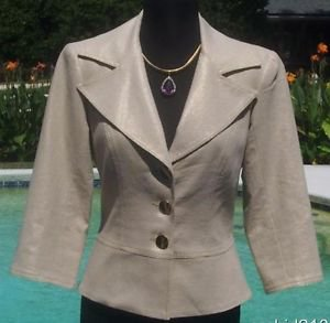 Cache $178  ALMOND METALLIC  LINEN BLEND  COAT Jacket Top NWT XS/S LINED