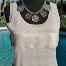 Cache IVORY LIGHT GOLD METALLIC STRETCH $108 CAMI Top NWT SEQUIN EMBELLISH L/XL