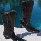 Stuart Weitzman Black Calf Boot Shoe EUC  7.5 Mid Calf Pull on Side Zip Eastern
