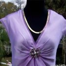 Cache $118 SILK + RHINESTONE PEARL BROACH Top NWT S/M RUCHED PLUNGING V