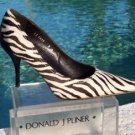 Donald Pliner $450 COUTURE HAIR CALF LEATHER Shoe Pump NIB 6.5 9 BLACK WHITE NEW