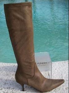 Donald Pliner $425 KHAKI SUEDE METALIC STRETCH ENERGIZ MASSAGE Boot Shoe NIB NEW