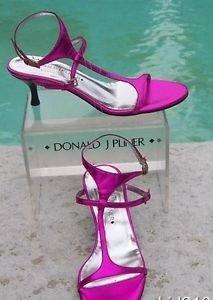 Donald Pliner $255 COUTURE METALLIC LEATHER Shoe NIB 10  T-STRAP ANKLE SIGNATURE