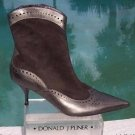 Donald Pliner $455 COUTURE METALLIC LEATHER SHORT Boot Shoe NIB SUEDE NEW