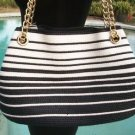 Cache $98 STRAW CANVAS BLACK & WHITE PURSE NWT TOTE SHOULDER ADJUST STRAPS TOP