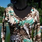 Cache $108 ANIMAL EMBELLISHED DOUBLE V NECK Top NWT S STRETCH 3/4 SLEEVE