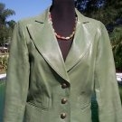 Cache $$$ LEATHER Jacket Top EUC  10 M/L LINED GREEN SINGLE BREAST