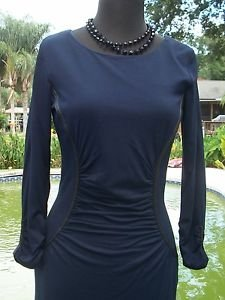 Cache $168 NAVY BLUE SHIRRED DRESS pLEATHER TRIM LINED STRETCH BODY HUGGING