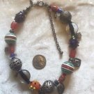 Chicos Statement Necklace SIGNED EUC MULTI SIZE SHAPE METAL BEAD TRIBAL TEXTURED