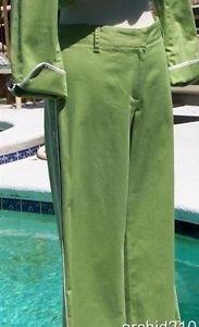 BCBG MAX AZRIA $134 STRETCH Cotton Crop Pant NWT 4/6/8/10 S/M GREEN WHITE TRIM