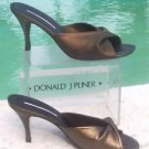 Donald Pliner $255 COUTURE METALLIC MESH ELASTIC & LEATHER SLIDE Shoe NIB NEW