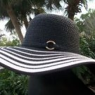 CACHE $68 WOMENS HAT BLACK WHITE STRAW SUN BEACH WIDE BRIM HANDBAG TOP PANT NWT