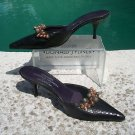 Donald Pliner $235 COUTURE JEWELS LEATHER Shoe EUC 8.5 SLIDE MULE SNAKE REPTILE
