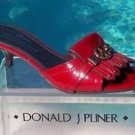 Donald Pliner $275 COUTURE PATENT LEATHER SLIDE Shoe NIB PEACE SIGN 5.5 6 6.5NEW