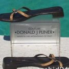 "Donald Pliner  LEATHER  TAN KOGI GATOR Sandal Shoe NEW 8 FLAT STRAPY 3/4"" HEEL"
