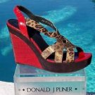 Donald Pliner $350 COUTURE GATOR LEATHER WEDGE Shoe METALLIC HAIR CALF NIB