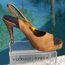 Donald Pliner $265 COUTURE GATOR SUEDE LEATHER Shoe NIB PLATFORM SANDAL PEEP-TOE