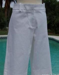 Cache $88 STRETCH LINEN BLEND CITY SHORT BERMUDA Pant NWT 10/12 M/L WINTER WHITE