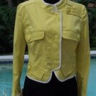 BCBG MAX AZRIA $222 STRETCH Cotton JACKET Top NWT XS 2 Lined YELLOW WHITE TRIM