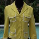 BCBG MAX AZRIA $222 STRETCH Cotton JACKET Top NWT XS/S  Lined YELLOW WHITE TRIM
