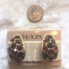 ICING $48 Beautiful BLACK & BROWN Crystal GOLD CLIP ON Earrings NWT