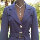Cache $188 CONTOUR COAT Jacket Top + BELT NWT M/L  Lined Figure Flattering NAVY